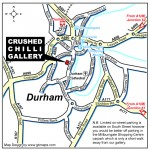 A map of Durham City, detailing the location of the Crushed Chilli gallery