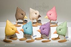 Small handmade fabric birds.